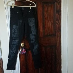 Low rise patchwork skinny